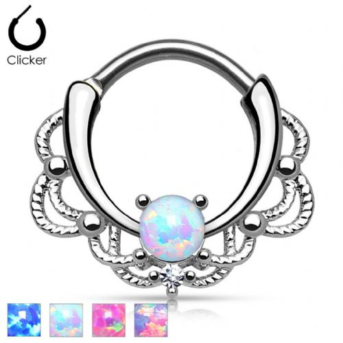 Lace Swirl Opal Gem Septum Clicker